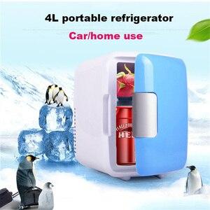 Image 1 - Мини Автомобильный холодильник с морозильной камерой двойного назначения 4L для домашнего использования в автомобиле, холодильники, Ультра тихий низкий уровень шума, охлаждающий холодильник