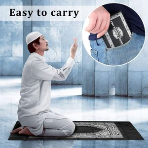 Image 3 - Portable Waterproof Muslim Prayer Mat Rug With Compass Vintage Pattern Islamic Eid Decoration Gift Pocket Sized Bag Zipper Style