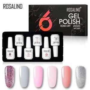 Набор гель-лаков для ногтей ROSALIND, 6 шт., 15 мл, набор для дизайна ногтей, маникюрный набор, впитывающий УФ-гель для ногтей, набор топов и основны...