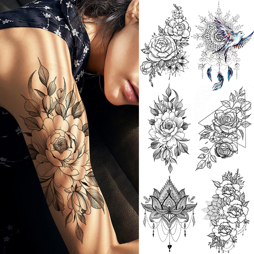 Peace Gigeon DreamCatcher Henna Mandala Flower Bird Totem Temporary Tattoo Sticker Feather Waterproof Tattoo Body Art Fake Tatoo