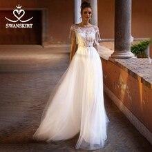 골치 아픈 건 아플리케 레이스 웨딩 드레스 Swanskirt Beach Scoop a 라인 Tulle Illusion 신부 가운 Desinger Princess robe de mariee NY51