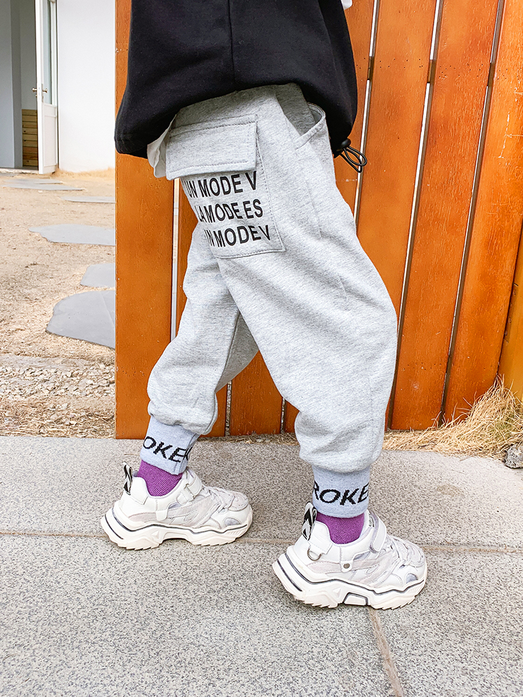 Children's Clothing Sweatpants Boys Western Style Pants Baby Spring Leisure shu jiao ku Boy Loose-Music of the Tide 3