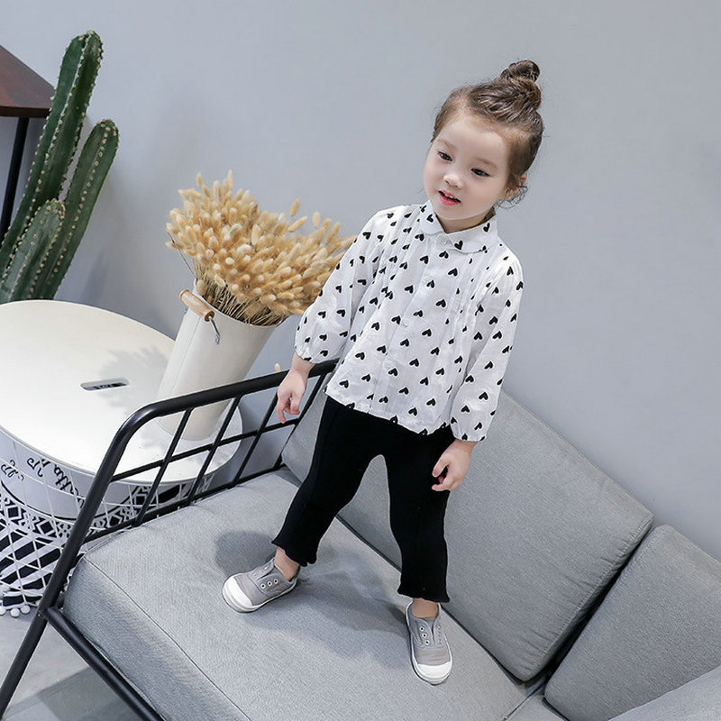 Childrenswear GIRL'S Shirt Heart Peter Pan Collar Shirt Tops 20 Autumn Clothing New Style 3-8-Year-Old