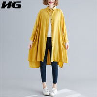 HG Splice Pleated Irregular Womens Tops and Blouses Plus Size Long Shirt Turn Down Collar Blouse Fashion Women Clothes XJ1950