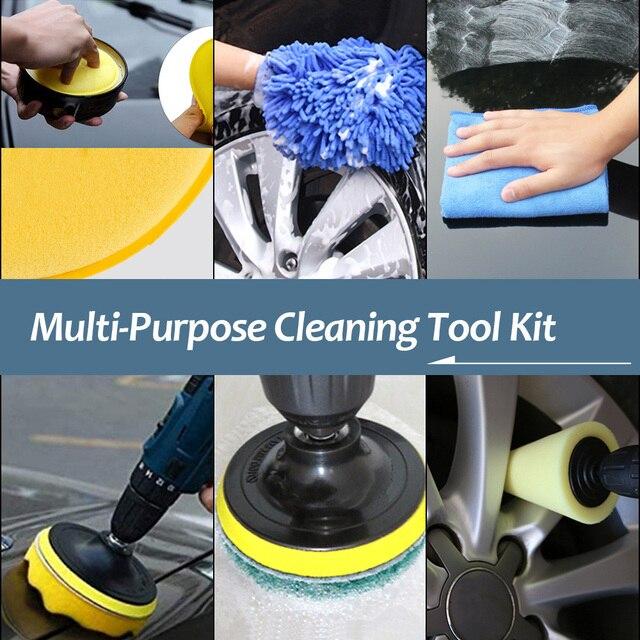 Brosse de nettoyage de voiture, ensemble de brosses de nettoyage pour l'intérieur et l'extérieur du cuir, nettoyage des bouches d'aération 6