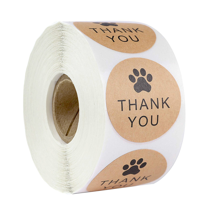 1Inch Natural Kraft Paper Thank You Stickers Seal Labes Dog Paw Print Gift Packaging Stationery Sticker 500 Labels Per Roll