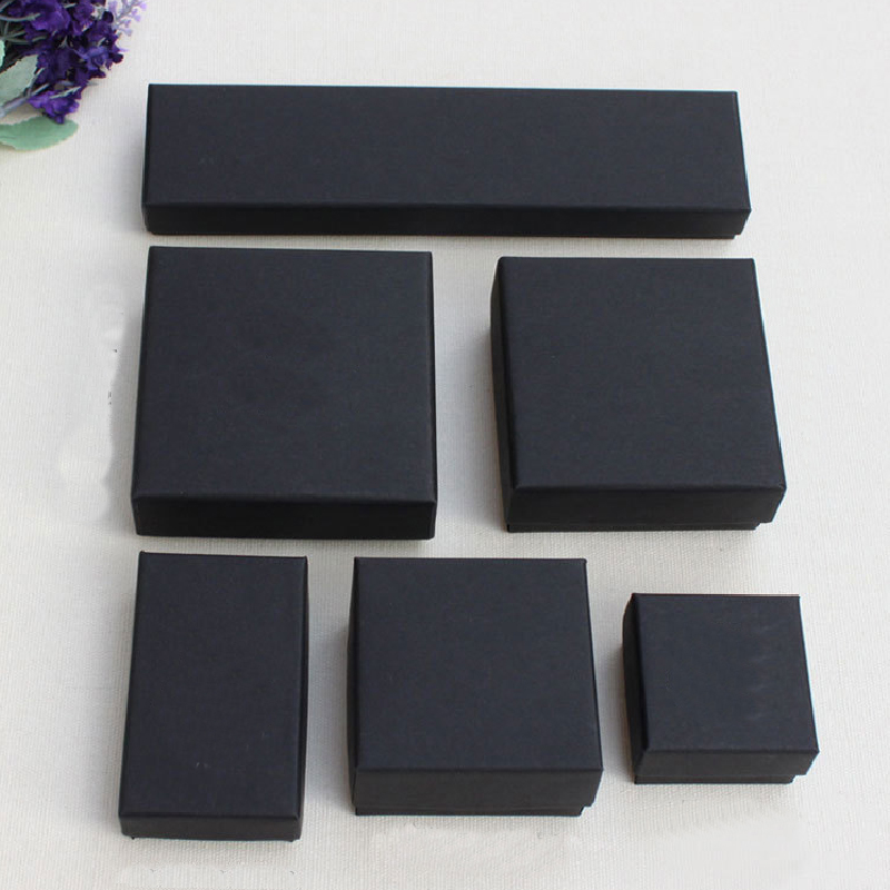 2020 New 1pc Square Jewelry Organizer Box Engagement Ring For Earrings Necklace Bracelet Display Gift Box Holder Black