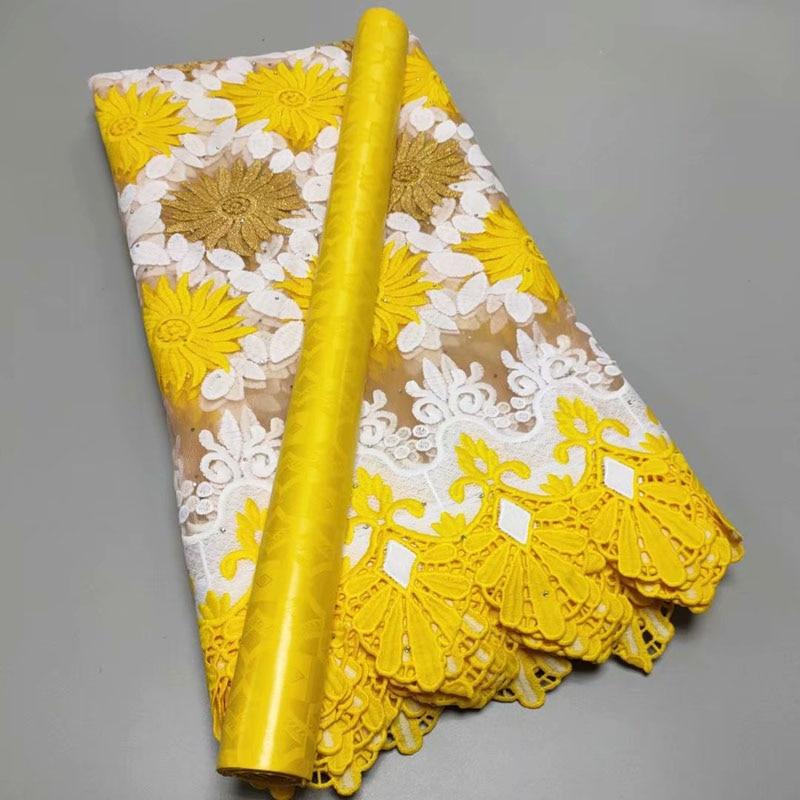 Желтый духов из молочного шелка кружевной ткани с камнями Высокое качество Африканский базин ткани 2,5 + 2,5 ярдов набор для шитья