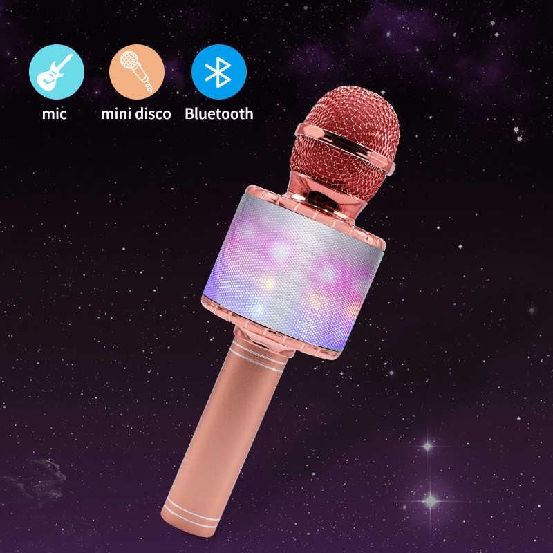 Micrófono inalámbrico con luces LED, micrófono profesional con bluetooth para Karaoke, reproductor de estudio, grabador para cantar, micrófono de mano 1