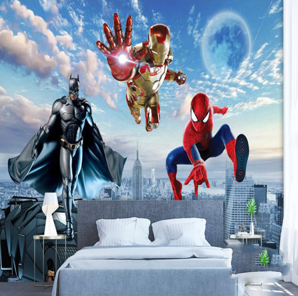 Custom Mural Wallpaper 3d Mural Avengers Children's Room Bedroom Boy Background Wallpaper Superman Spiderman Wallpaper