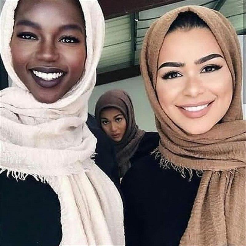 Hot Sale Muslim Crinkle Hijab Scarf Soft Cotton Islamic Headscarf Ladies Shawls Headwrap African Head Scarf Hijab Femme Musulman
