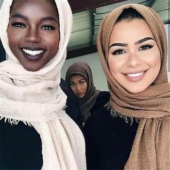 Hot sale muslim crinkle hijab scarf soft cotton islamic headscarf ladies shawls headwrap african head femme musulman