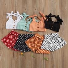 Toddler Baby Girl Summer 2Pcs Set Solid Bandage Suspender Tops + Polka Dot Elastic Heart Short Pants Casual Children Outfits