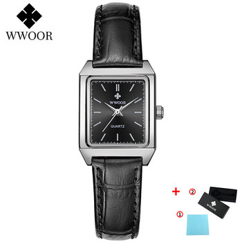2020 WWOOR Top Brand Luxury Women Square Watches xfcs Genuine Leather Quartz Small Dial Wrist Watch Gifts For Women Montre Femme - Black-P