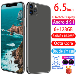 Vente chaude Smartphone 11pro 6.5 pouces HD écran Android téléphone 4800mAh FaceID 8MP + 16MP 6GRAM + 128ROM téléphones pas chers