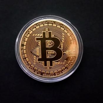 Antique Collection Metal 1PCS Plated Gold Physical Bitcon BTC Bitcoints Case Commemorative Souvenir Art Coins Collectible Gift