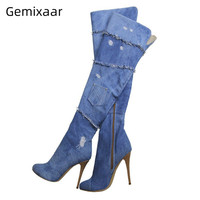 Walking Shoes Women Blue Denim Over The Knee Boots Round Toe High Gladiator Heel Walking Footwear 2020 New Fashion Boots Women