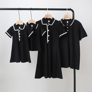 TUONXYE rodzina pasujące ubrania mama matka córka syn stroje kobiety mama krótkie rękawy dziewczynka sukienka chłopcy Polo T Shirt