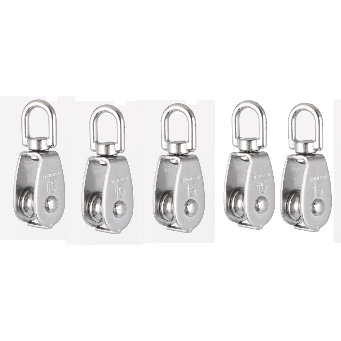 Uxcell M15 Lifting Crane Swivel Claw Single Pulley Block Hanging Wire Towing Wheel 5pcs