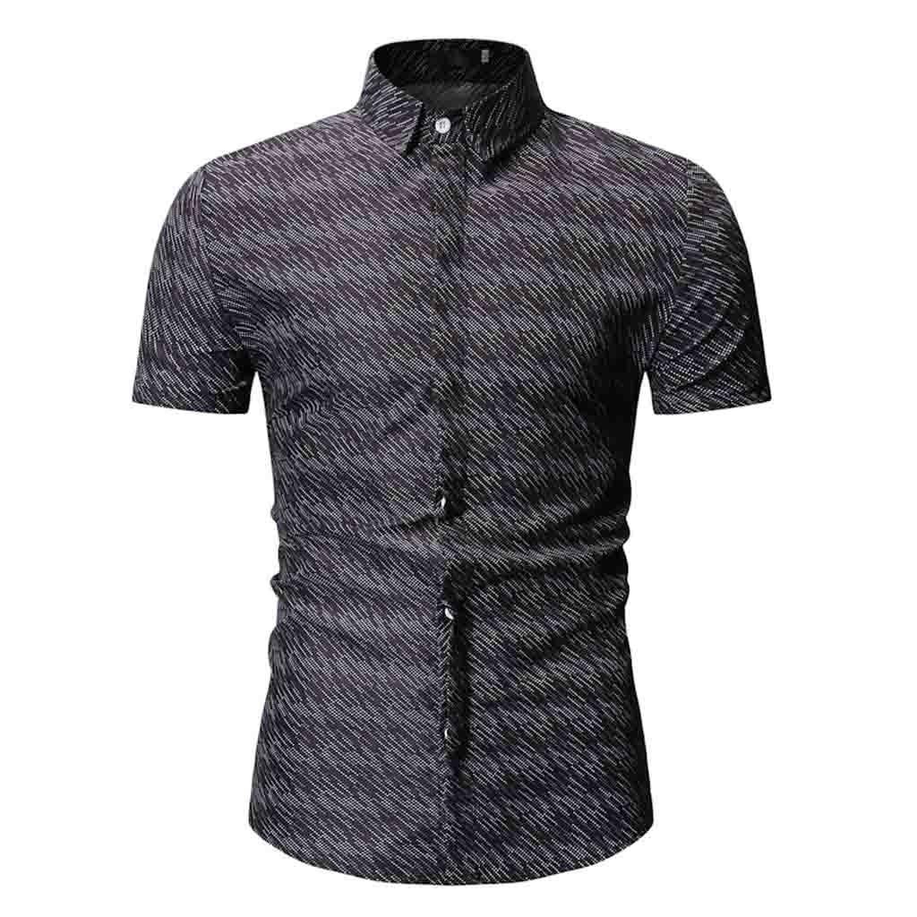 2019 Summer New Men's Shirt Brand Luxury Men Cotton Short Sleeves Dress Shirt Turn-down Collar Cardigan Shirt Men Clothes Apr11