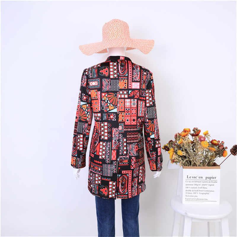 Płaszcz damski, w kwiaty jesień i wiosna elegancka moda retro druk czarny długi akapit casual bankiet duży rozmiar kobieta płaszcz