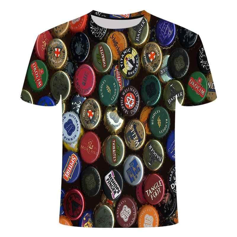 楽しいtシャツ夏メンズブランドラウンドネックt hirtベルビール半袖3D tシャツデジタル印刷tシャツ