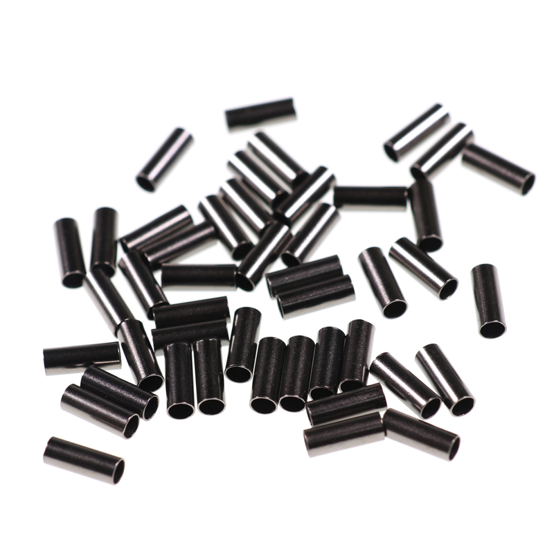 100pcs Black Single Barrel Copper Sleeves Fishing Line Fix Crimps  Mono And Wire Leader Saltwater Fishing Rigging Accessories