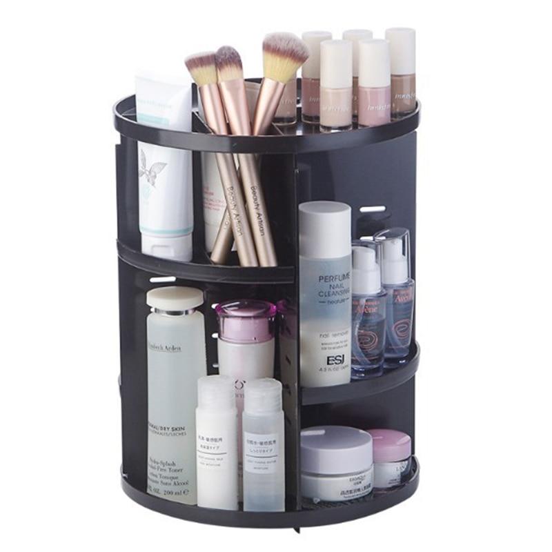 Fashion 360 degree Rotating Makeup Organizer Box Brush Holder Jewelry Organizer Case Jewelry Makeup Cosmetic Storage Box(black)|Makeup Organizers| |  - title=