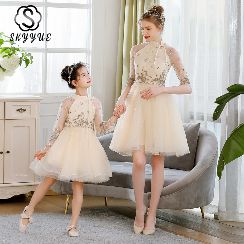 Skyyue High Collar Parent Child Party Dress FB164 Embroidery A-Line Elegant Vestidos Above Knee Prom Gown For Mom And Daughter