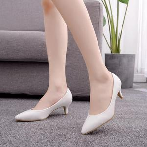 5 Cm Low Heel Pointed Single Shoes Concise Elegant High Heels Thin Heels Womens Shoes White Wedding Shoes Large Size Pumps 42,43