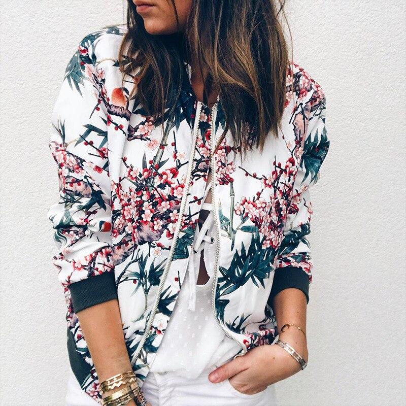 Women's Jackets Retro Floral Printed Ladies Zipper Up Bomber Outwear Autumn Long sleeve Short Thin Slim Casual Pocket Biker coats 2