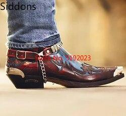 Inverno Della Caviglia Scarpe Stivali da Uomo Appliques Vintage Classico Maschio Casual Stivale da Moto Zapatos De Hombre Pattini di Modo Degli Uomini D332