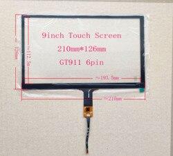 9 de navegação Do Carro da polegada, computador do carro I2C/USB interface de tela de toque capacitivo 210 milímetros * 126mm 6pin GT911 Win7 8 10 Framboesa PI