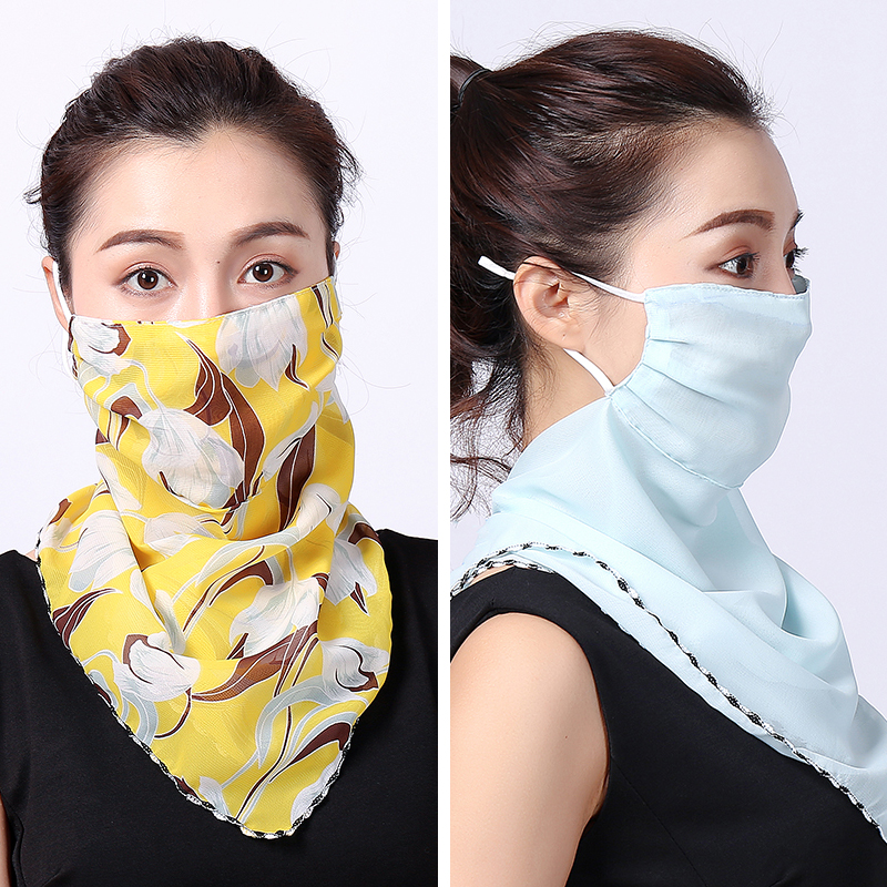 Silk Scarf Lady Mascarillas Bandanas Sun Protection Face Maskswashable And Reusable Female Shawl Women Scarves Neck Wraps Mask