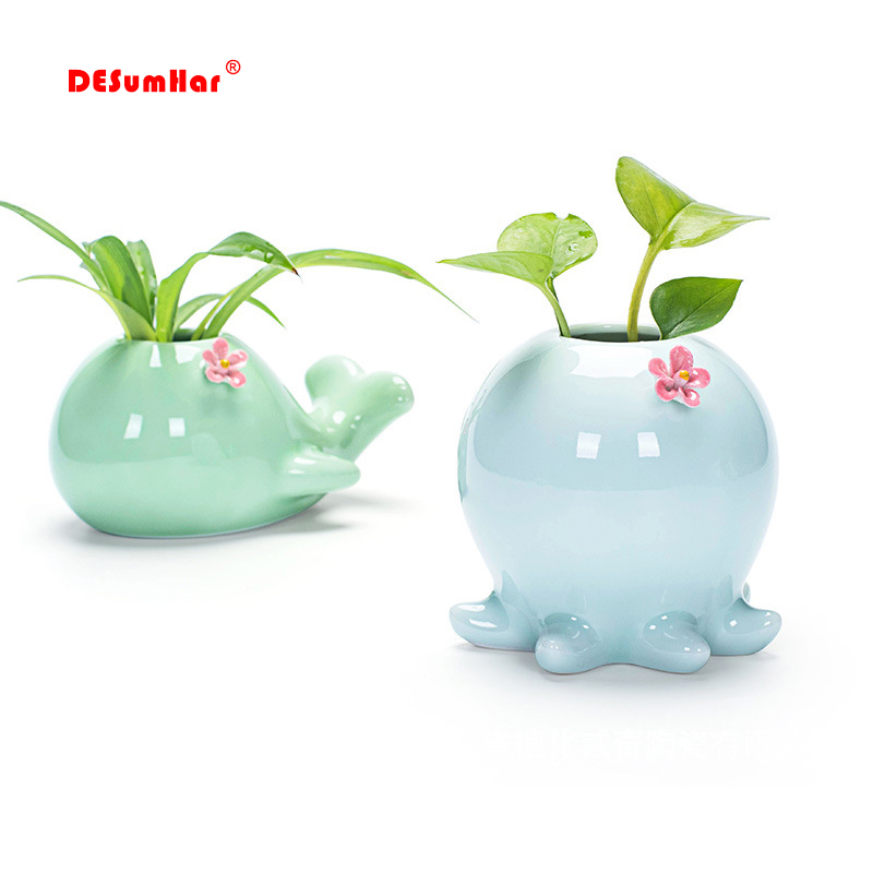 Creative Celadon Whale Elephant Flower Pot, Crafts Hydroponic Flower Inserted Home Ceramic Pot Vase Decoration