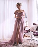 pink bridesmaid dresses 2020 off the shoulder hand made flowers side slit chiffon a line long prom dresses wedding party dress