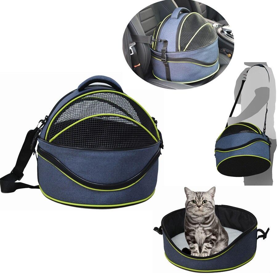 ETHIN Pet chien chat transporteur forme ronde 3-en-1 multi-fonctionnel chat lit/Double sac à bandoulière/voiture voyage sac à dos chiot coffre pack