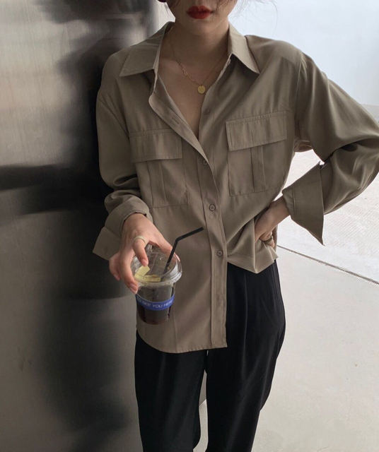 REALEFT Autumn 2020 New Solid White Women's Blouse Pockets Shirt Tops Long Sleeve Turn-down Collar Korean Style Loose Blouses 2