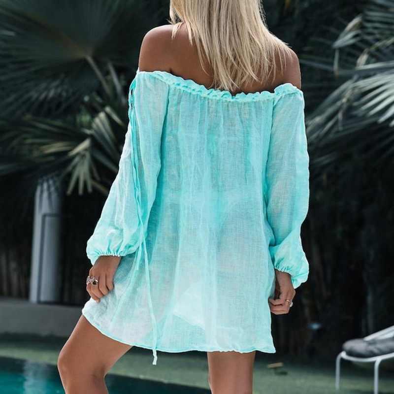 מכתף חוף שמלת ביקיני לחפות סרונג מוצק לשחות כיסוי קופצים ארוך שרוול וחוף נשי קשור טוניקת קיץ בגדי ים