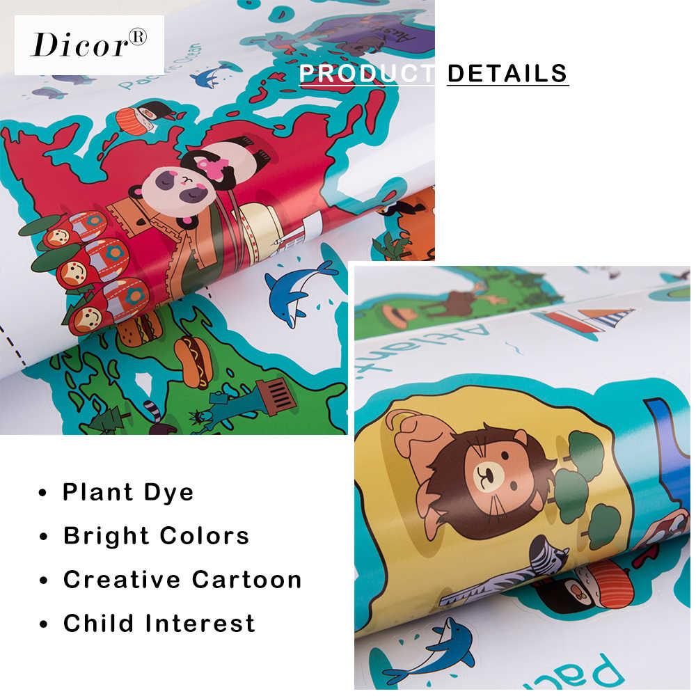 DICOR, 3 tipos de mundo de dibujos animados adhesivo con diseño de mapa para pared de animales para habitación de niños, guardería, Mural DIY, pegatina impermeable creativa, papel tapiz de PVC, nuevo