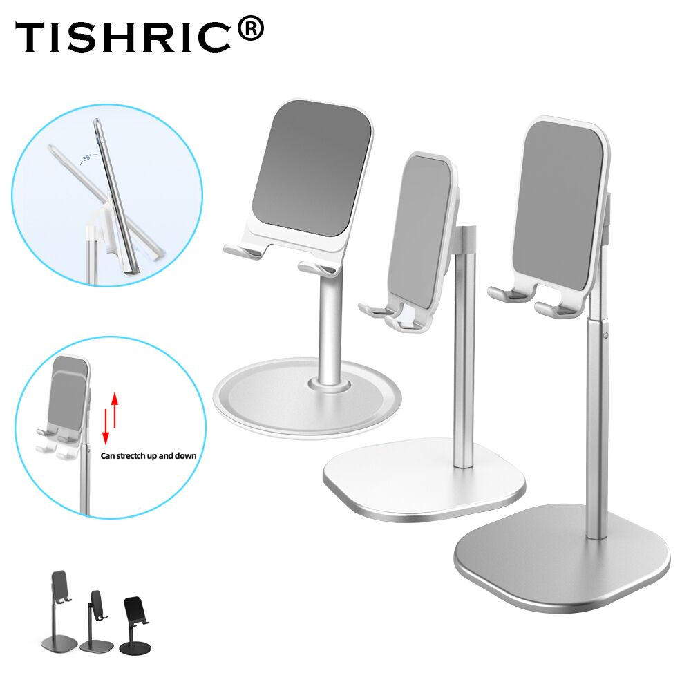 TISHRIC Universial Alumium Desk Stand For Cell/Moile Phone Holder Desktop Tablet Mount Flexible For Samsung/Xiaomi/Huawei/iPhone
