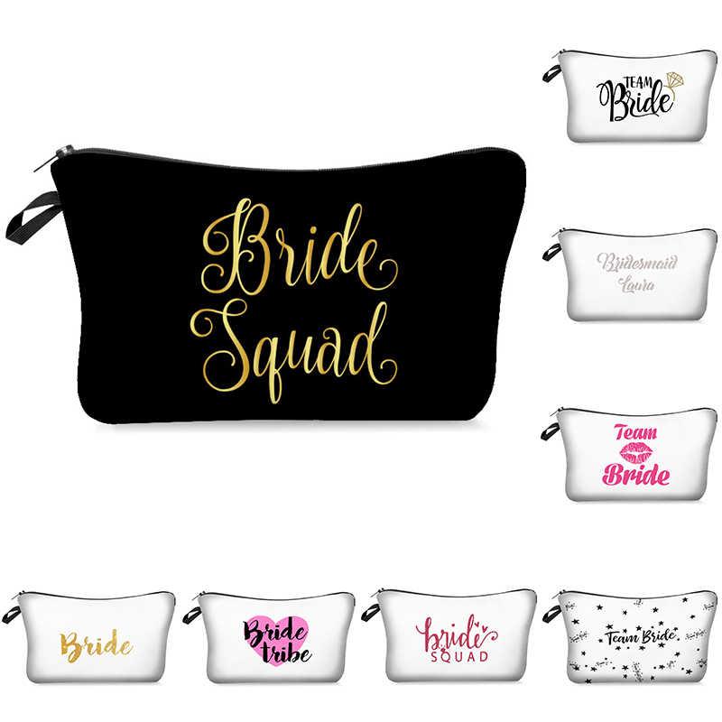 Team Bride tribe Make Up Delle Donne del Sacchetto di Cosmetici Borse da Damigella D'onore Da Sposa Festa di Addio Al Nubilato di Trucco Del Sacchetto di Caso di Bellezza Borsa Da Toilette