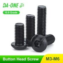 DA-ONE 10-50 pces grade10.9 parafuso de cabeça de botão m2 m2.5 m3 m4 m5 m6 hex soquete sextavado parafuso allen alta qualidade