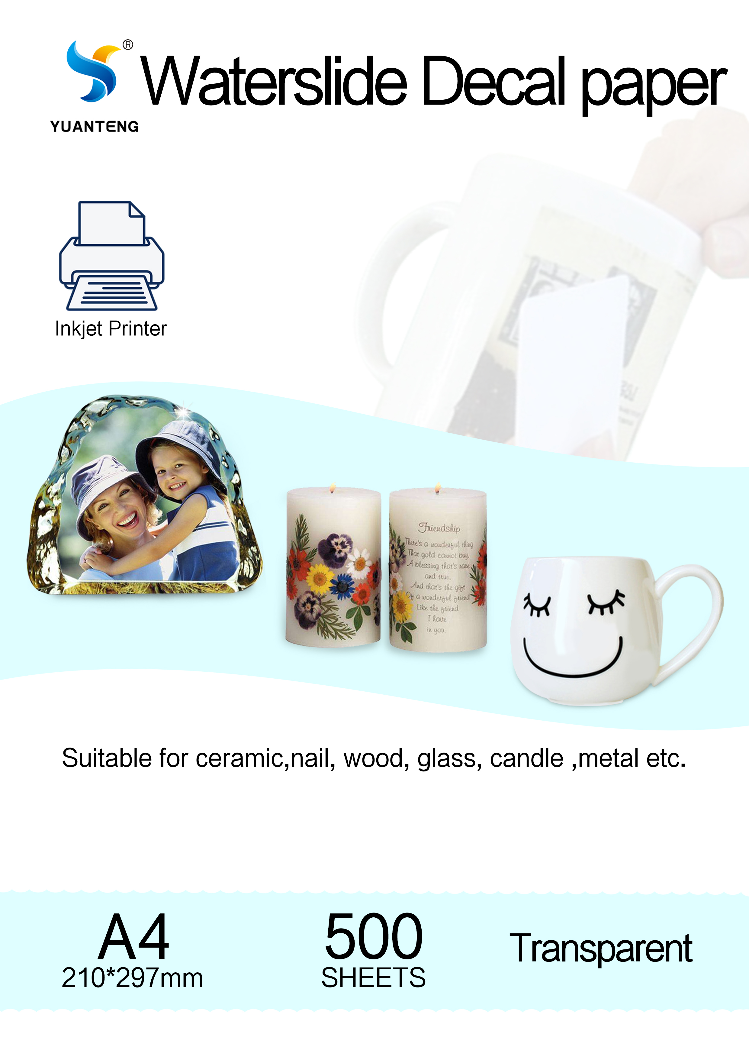 Inkjet Water Decal Paper With Transparent Color A4 Size 500sheets For VIP Customer