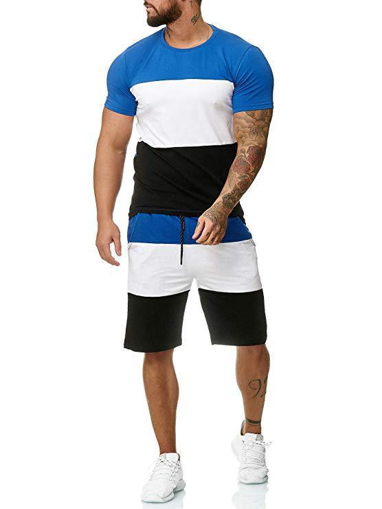 2019 Summer New Style Men Fashion Stripe Spell Color Large Size Outdoor Sports Casual Set K113
