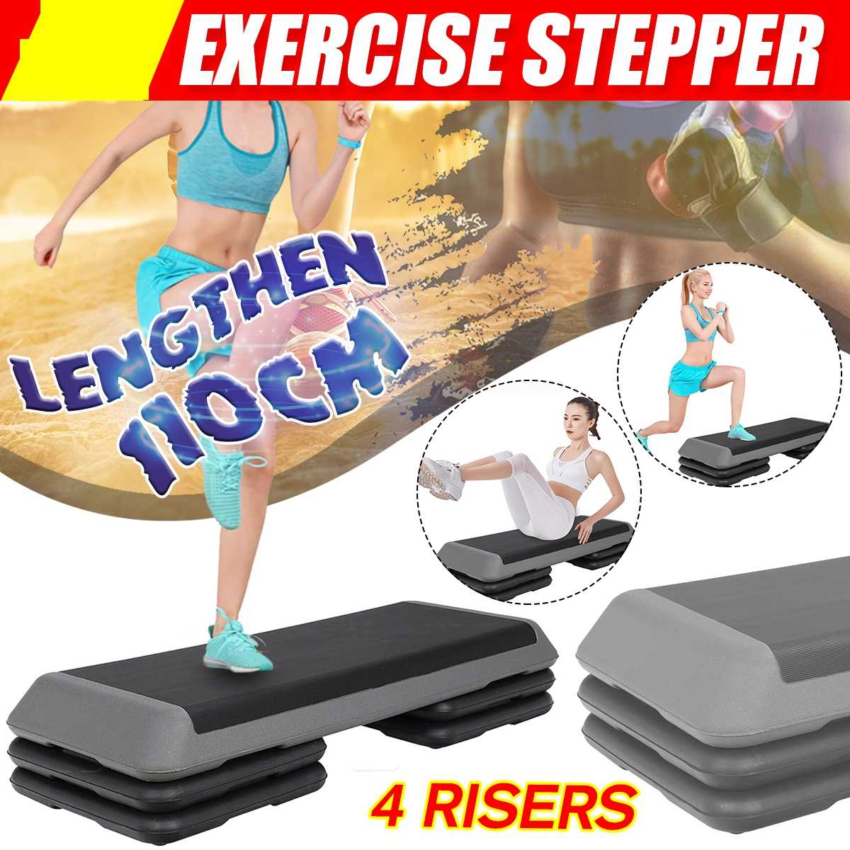 4 стойки 110 см, фитнес-аэробный шаг, нескользящая педаль для йоги, шаговые тренировки в тренажерном зале, упражнения для фитнеса, оборудовани...