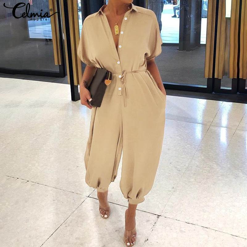 Celmia 2020 Women Casual Loose Jumpsuits Solid Short Sleeve Overalls Summer Buttons Cargo Pants Vintage Harem Trousers Plus Size