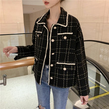 Tweed Wol Winter Plaid Vrouwen Blazer 2019 NIEUWE Fashion runway office Dames Jassen loose oversize Casual Dunne Blazers 0090(China)
