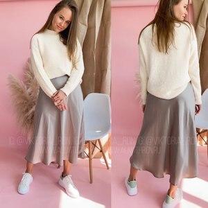 Image 2 - 女性のスカート韓国スタイルaラインサテンブラックハイ足首の長さの女性のスカートmujer段faldasファムjupes saias mulher