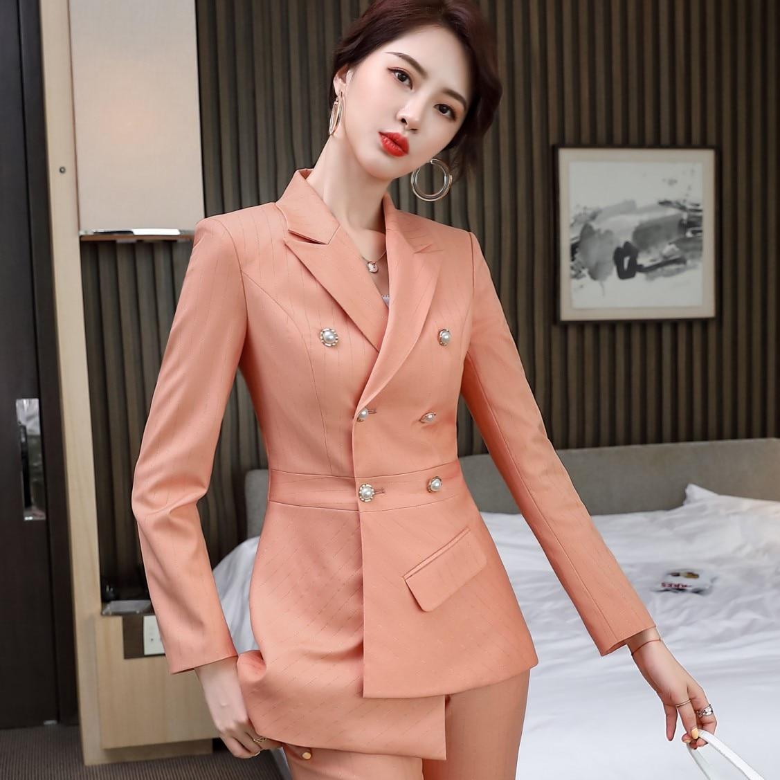 Plus size women's high-quality professional women's pants suit two-piece Autumn pearl double breasted ladies jacket Slim pants
